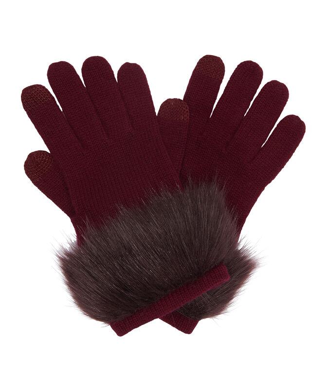 Henri Bendel Cashmere Faux Fur Gloves