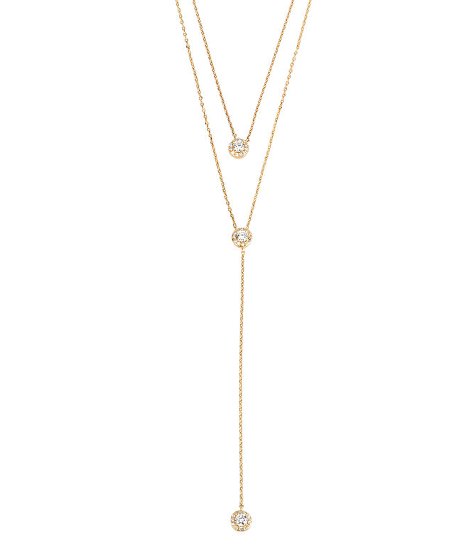 Luxe Pave Halo Double Y Necklace