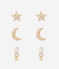 Luxe Chic Moon Stud Set
