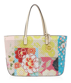 West 57th Perforated Floral Patchwork E/W Tote
