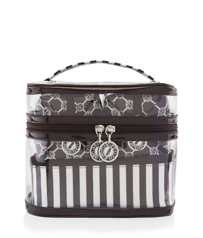 Brown & White 4 Piece Cosmetic Bag Set