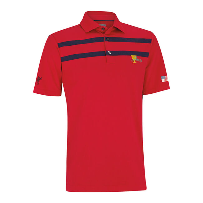 Stretch Cotton Chest Stripe Golf Shirt