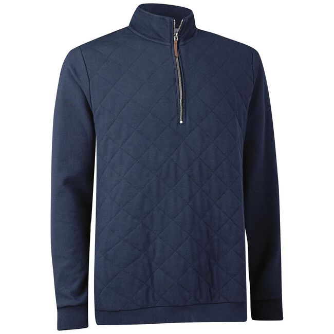 Pima Cotton Quilted Pique Half-Zip Pullover