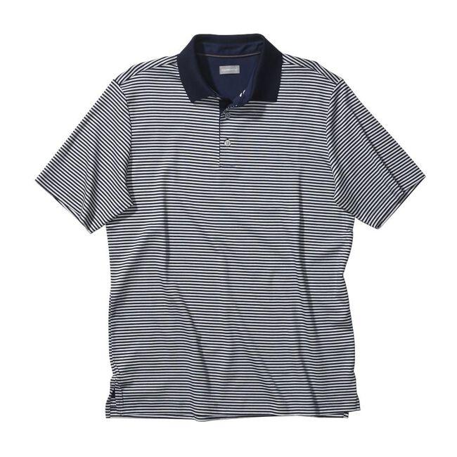 Signature Two-Tone Cotton Interlock Stripe Golf Shirt
