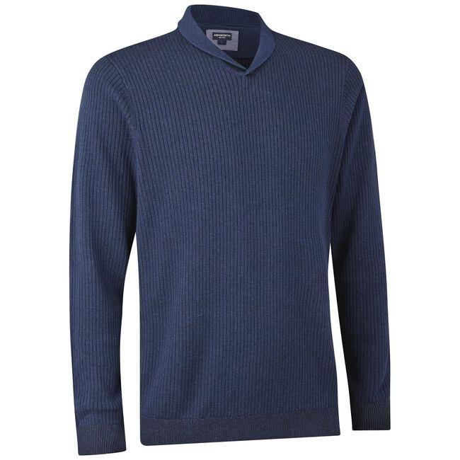 Alpaca Plaited Rib Mini Shawl V-Neck Sweater