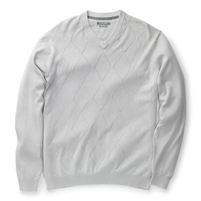 Argyle Texture Pima V-Neck Sweater