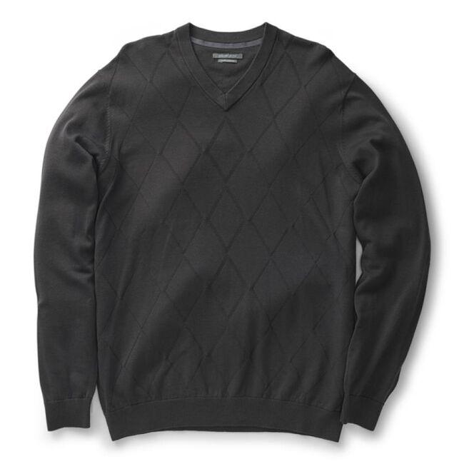 Argyle Texture Pima V-Neck Sweater