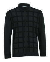 Merino Wool Full Zip Front Panel Wind Sweater