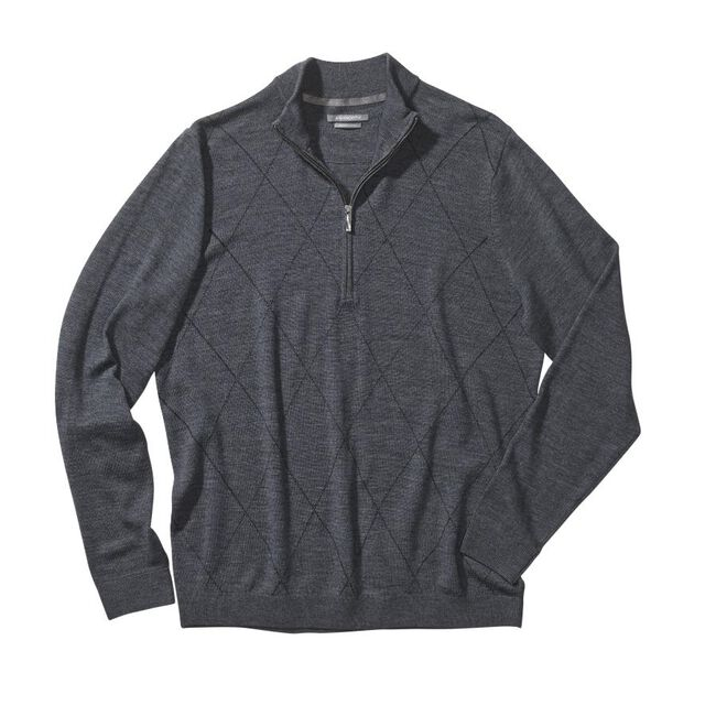 Diamond Merino Wool Half-Zip Sweater