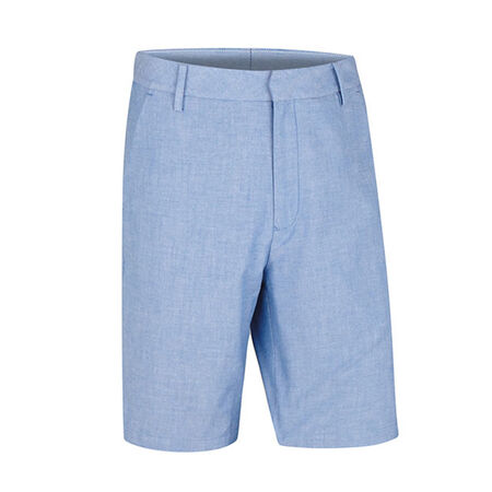 Cotton Blend Oxford Flat Front Short