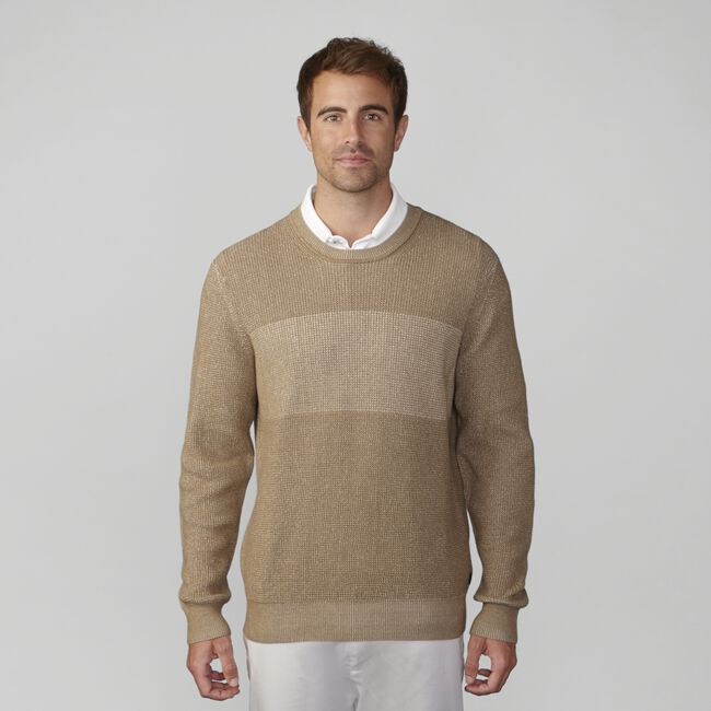 Pima Cotton Plaited Crewneck Sweater