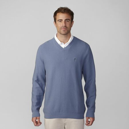 Pima Cotton Twill Stitch V-Neck Sweater
