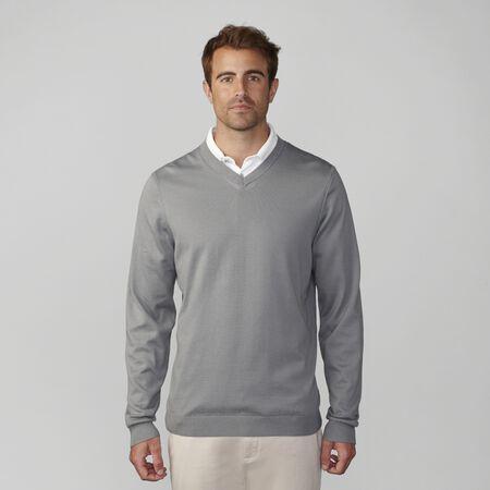 Cotton Plaited Jersey V-Neck Sweater
