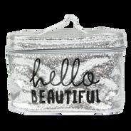 Cosmetiquera Grande Plateada Hello Beautiful, , hi-res