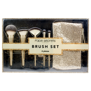 Set de brochas con cosmetiquera Glitter Gold, , hi-res