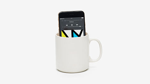 "Listening Fail #14 ""Mug o' Bass"" - Music from a phone is not meant for listening. Music is enjoyed with the best audio speakers that are easy to use and control. Like Sonos."