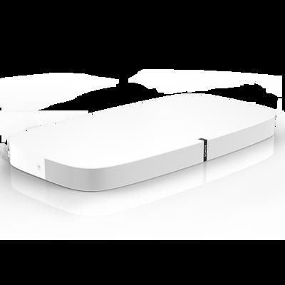 Vue d'angle de la PLAYBASE Sonos - blanc