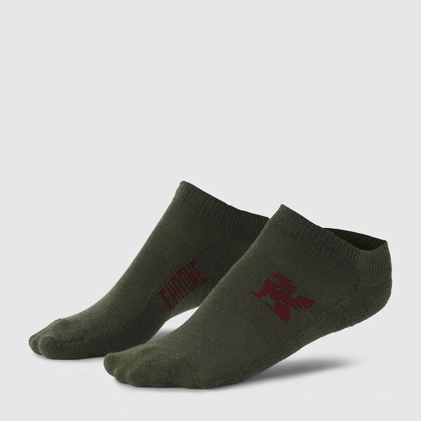 No Show Merino Socks in Olive - medium view.