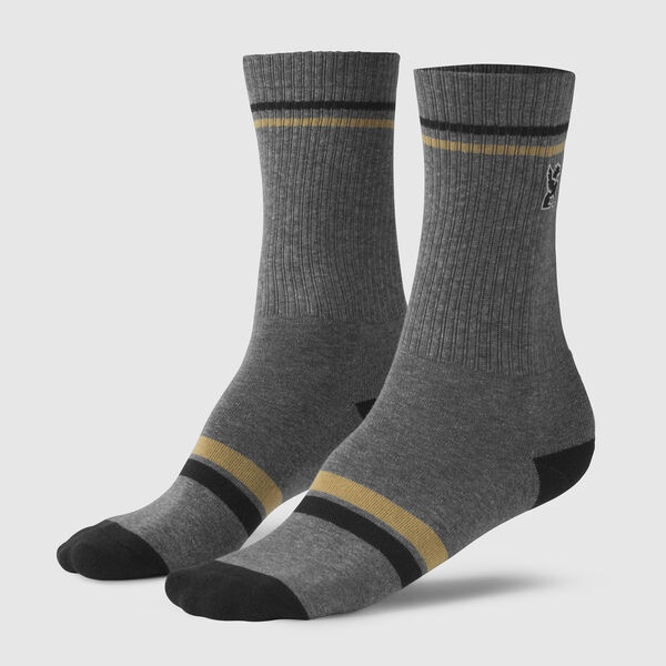Sutro Embroidered Crew Socks in Grey / Black Toe - medium view.