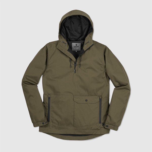 Skyline Windcheater Anorak in Military Olive - medium view.