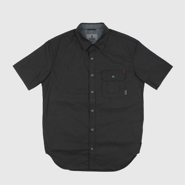 Short Sleeve Poplin Workshirt in Black - medium view.
