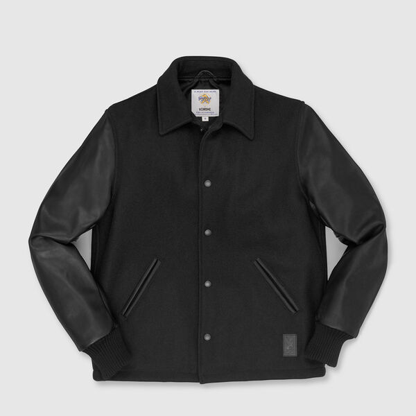 Fulton Baseball Jacket in Black - medium view.