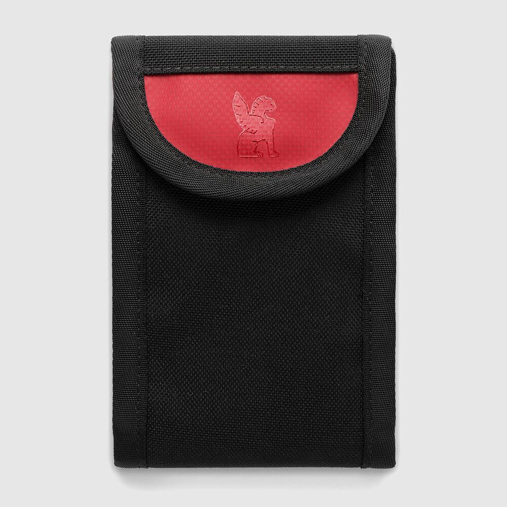 Flip-Down Phone Pouch - Final Sale in Black / Red - large view.