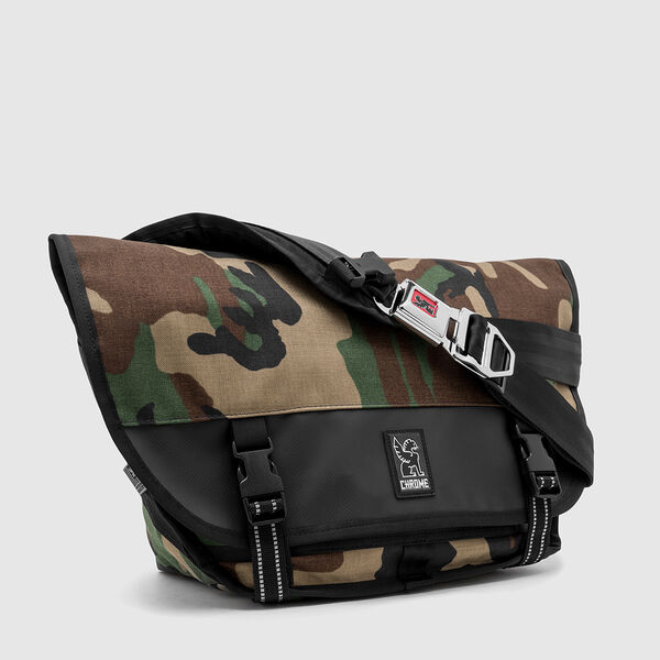 Mini Metro Messenger Bag in Woodland Camo / Black - medium view.
