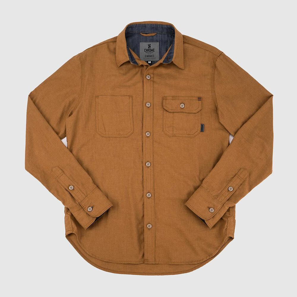 Brushed Cotton Woven Workshirt - Final Sale in Golden Brown - large view.