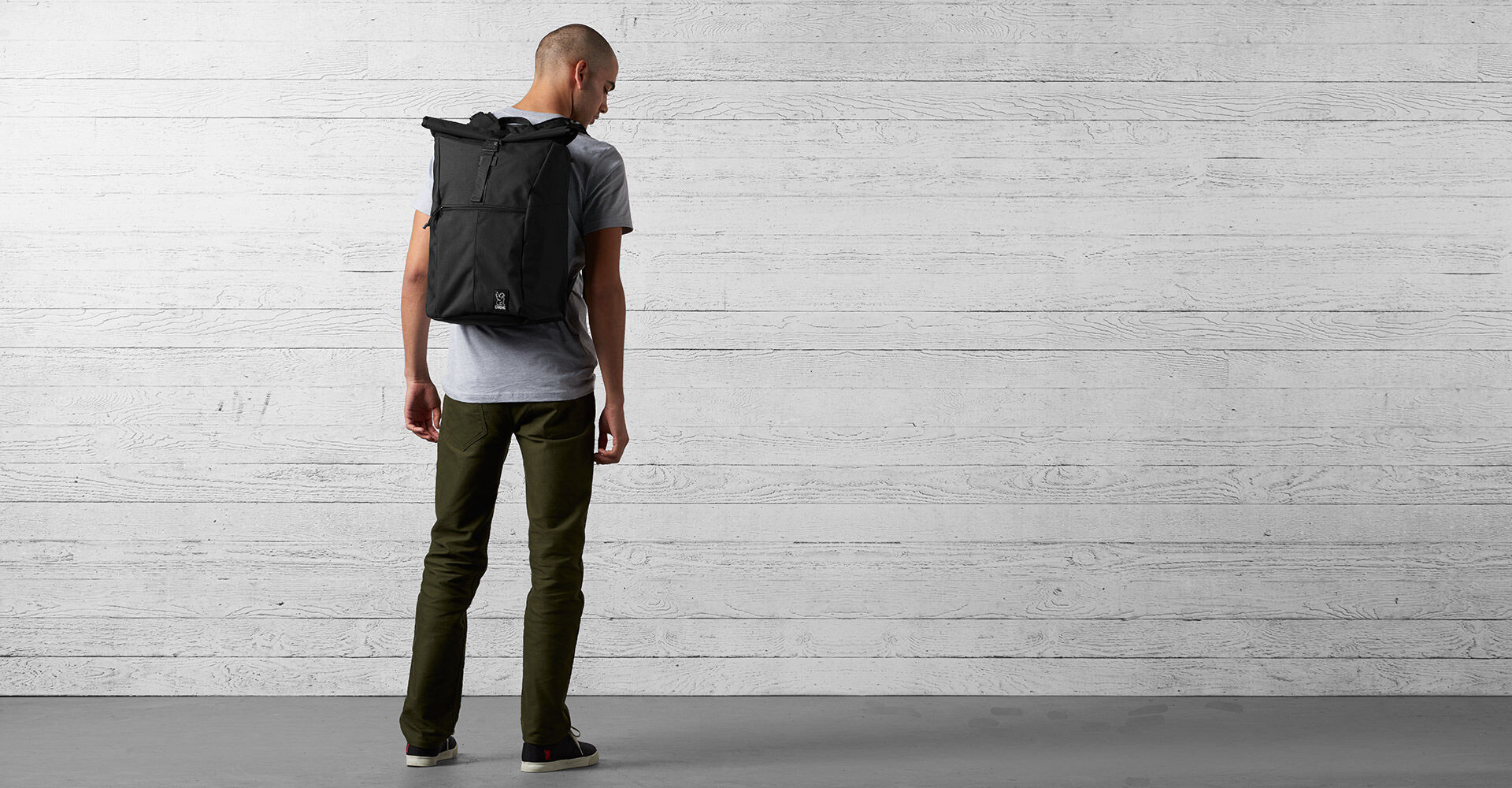 Yalta 2.0 Nylon Backpack in Black - wide view.