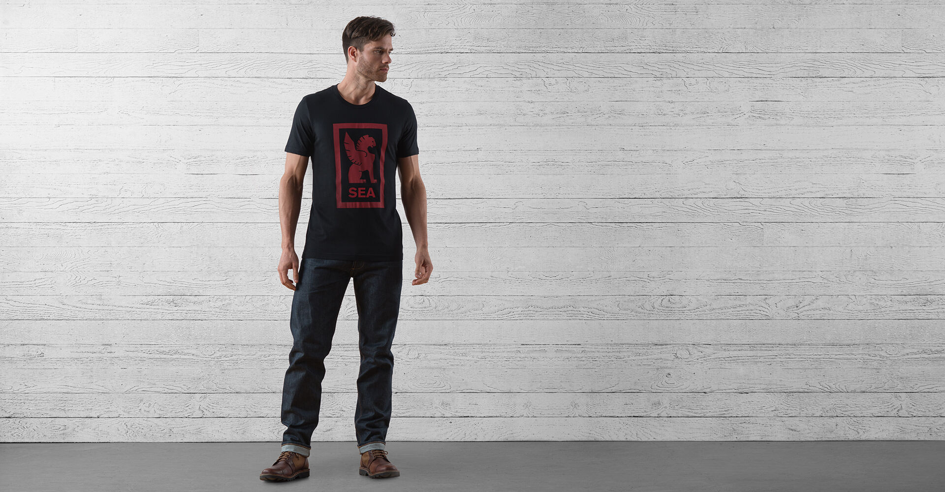 Seattle Hub Tee in Black / Red Graphic - wide view.