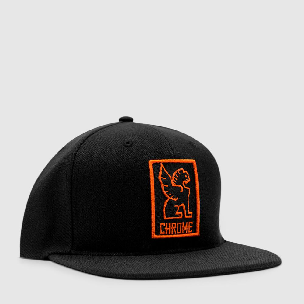 Snapback Cap in Black / Orange - large view.