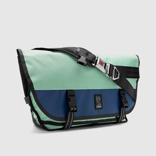 Citizen Messenger Bag in Mint / Navy - medium view.