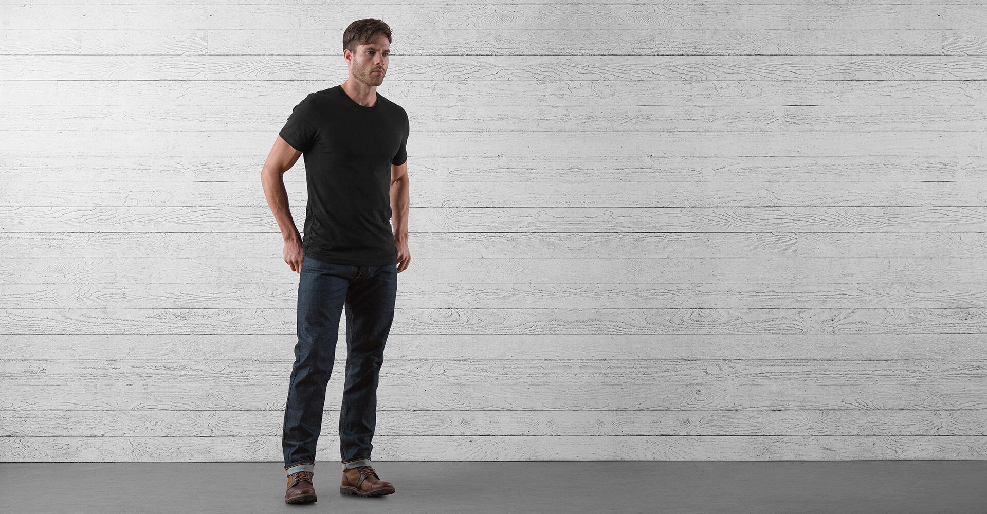 Wyatt Five Pocket Jean in Indigo Dyneema - wide view.