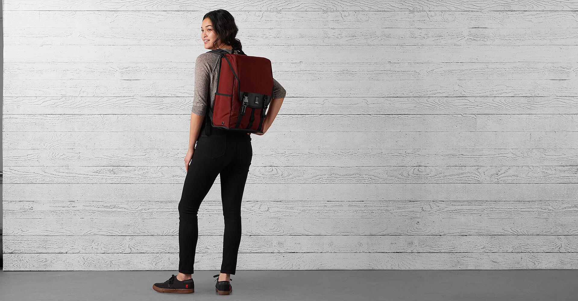 Soma Backpack in Brick / Black - wide view.