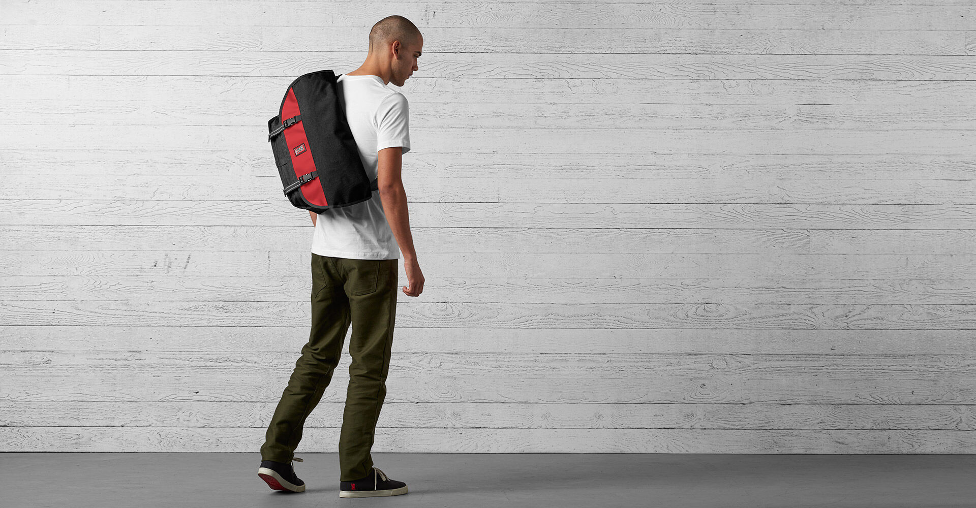 Citizen Messenger Bag in Black / Red - wide view.