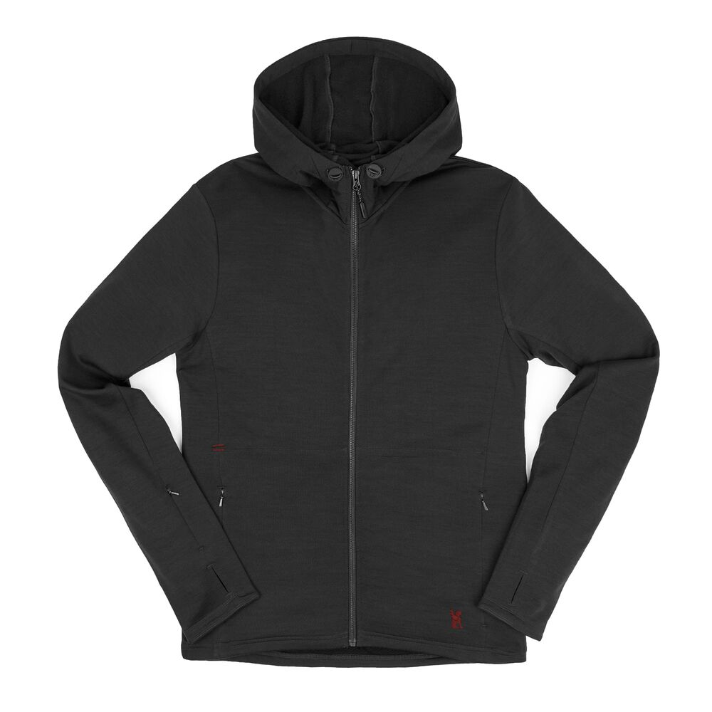 Merino Wool Cobra Hoodie in Black - wide view.
