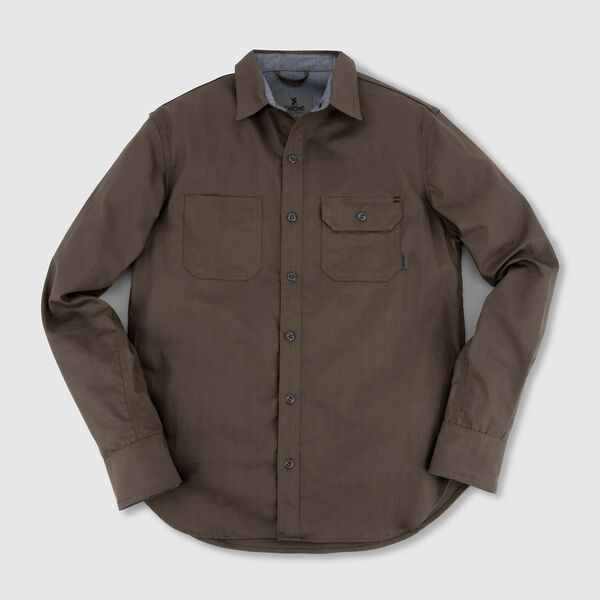 Woven Workshirt in Olive Herringbone - medium view.