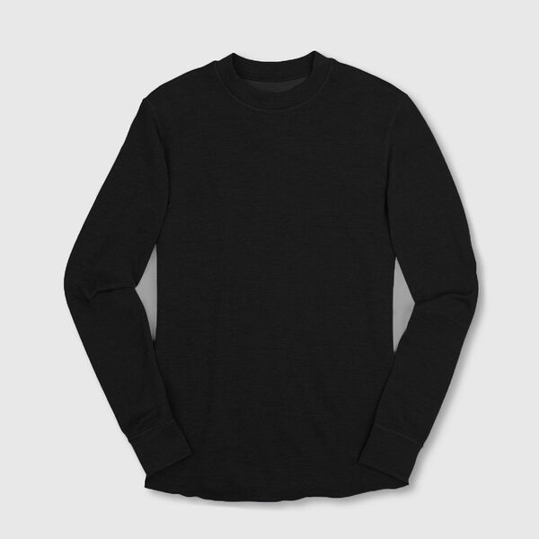 Merino Wool Crewneck Long Sleeve Shirt in Black - medium view.