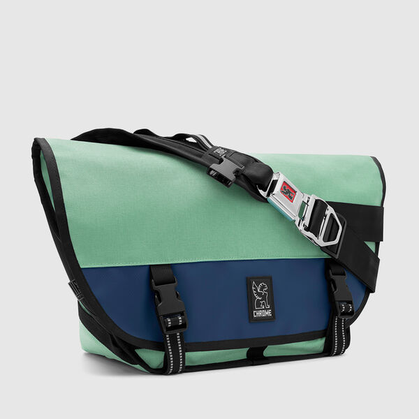 Mini Metro Messenger Bag in Mint / Navy - medium view.