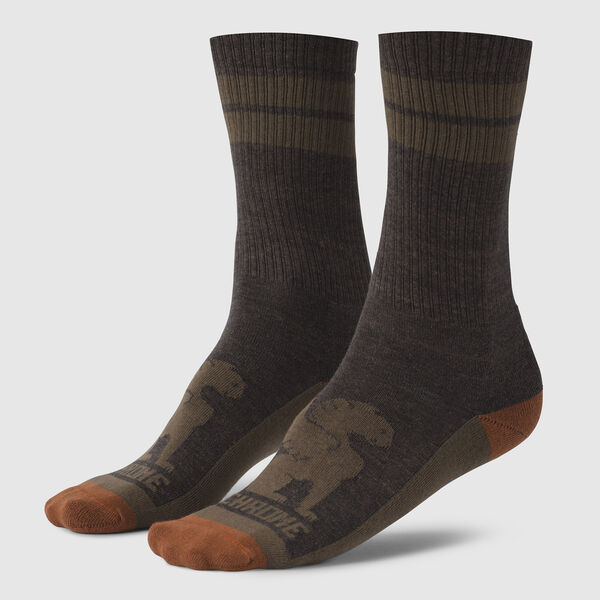 Larkin Crew Socks in Brown / Military Olive - medium view.