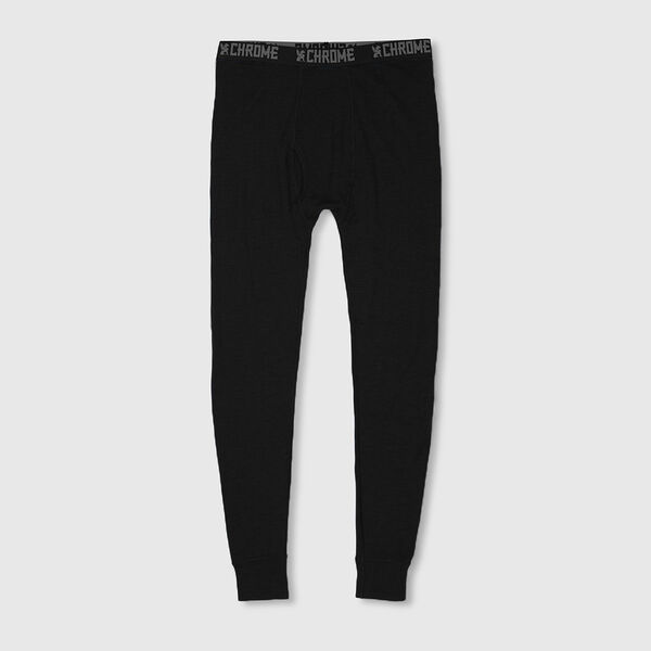 Merino Wool Long Johns in Black - medium view.