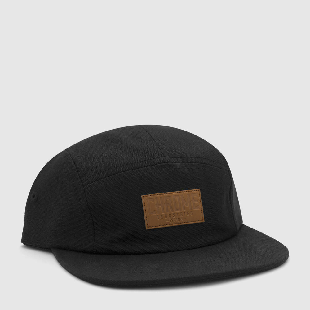 Canvas Five Panel Hat in Black - large view.