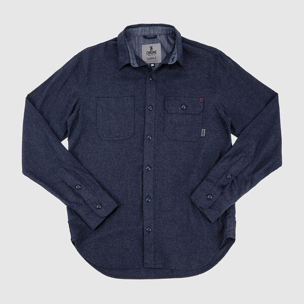 Brushed Cotton Woven Workshirt - Final Sale in Indigo - medium view.