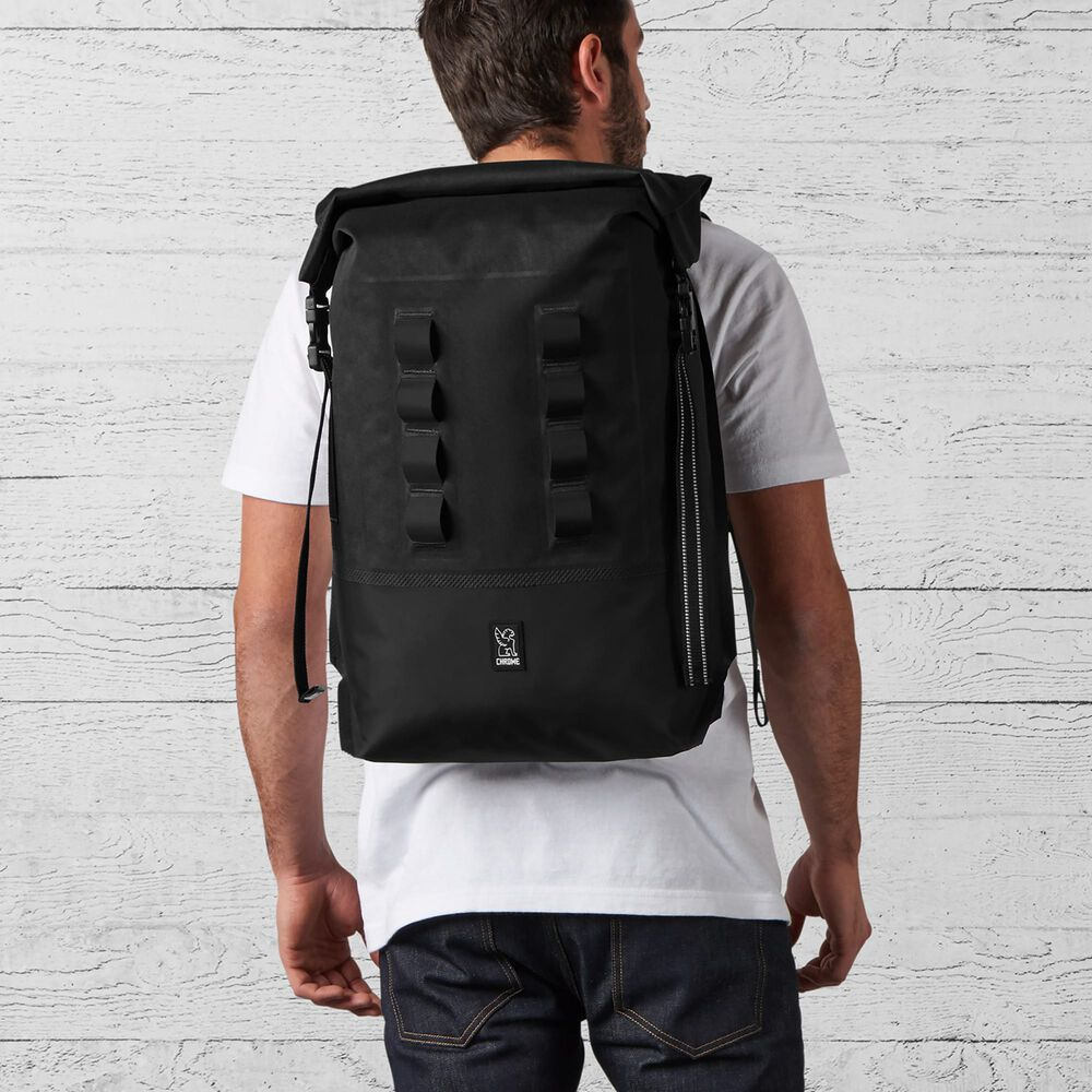 Urban Ex Rolltop 28L Backpack in Black - wide view.