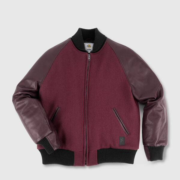 Halsted Varsity Jacket in Maroon - medium view.