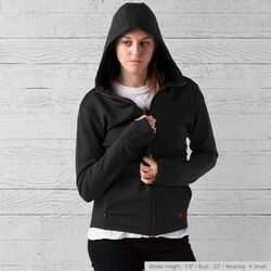 Merino Wool Cobra Hoodie in Black - small view.