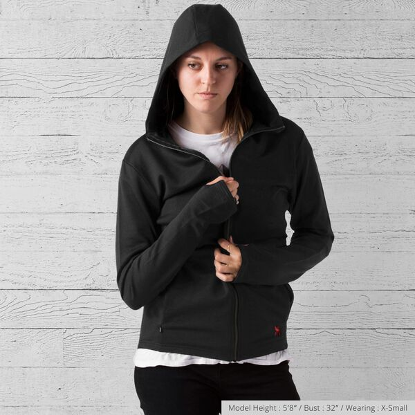 Merino Wool Cobra Hoodie in Black - medium view.