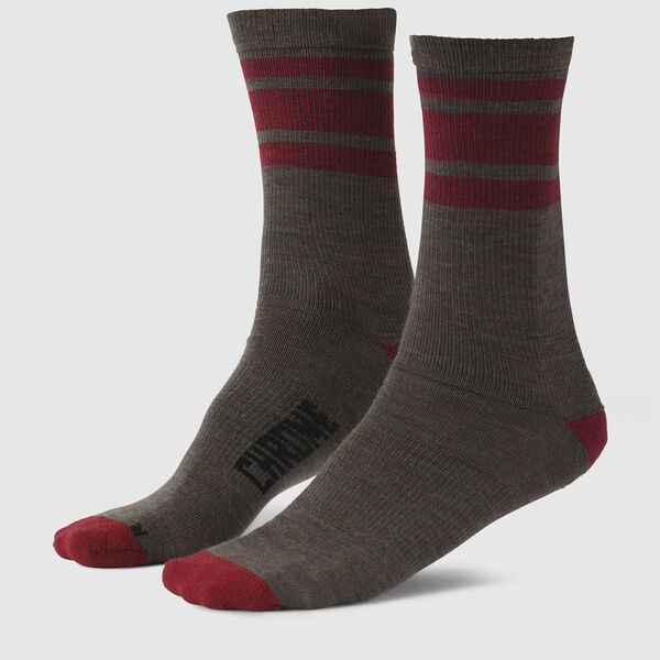 Striped Merino Socks in Olive / Red - medium view.