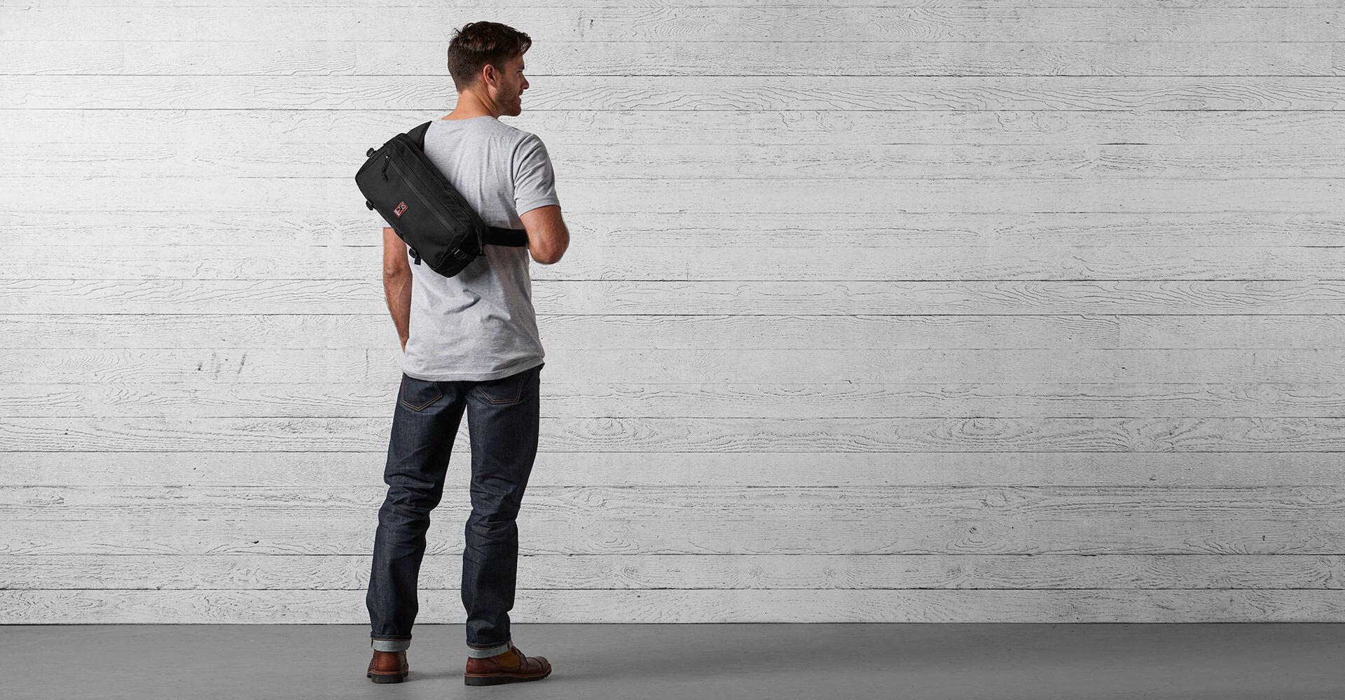 Kadet Nylon Messenger Bag in Black - wide view.